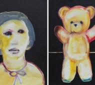 Girl and bear I+IIacrylic on canvas 41cm x 30.5cm x 2cm