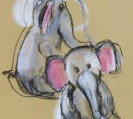 Nelly the Elephant acrylic on canvas 41cm x 30.5cm x 2cm