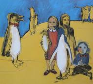 Penguin travels charcoal and acrylic on canvas 102cm x 122cm x 2cm